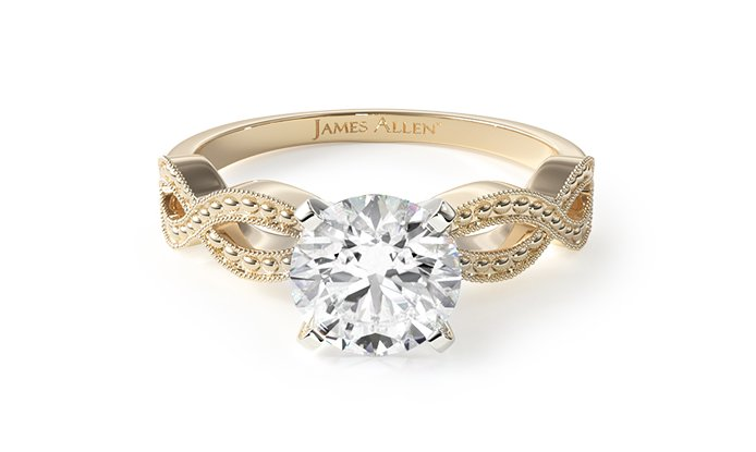 Yellow Gold Vintage Infinity Engagement Ring