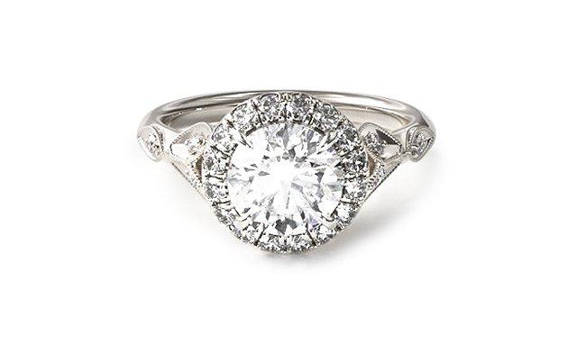 White Gold Navette Leaf Halo Engagement Ring