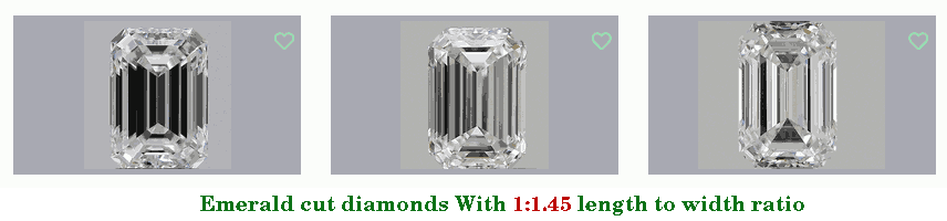 three emerald cut diamonds with a 1.45 length-to-width ratio