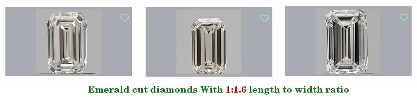 three emerald cut diamonds with a 1.6 length-to-width ratio